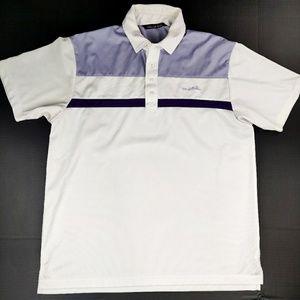 Travis Mathew Golf Polo White Purple Size XL